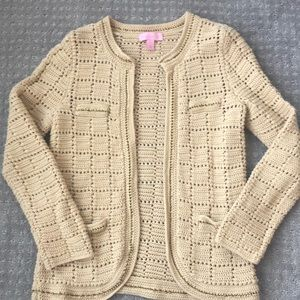Lilly Pulitzer Tan cardigan with gold chain detail